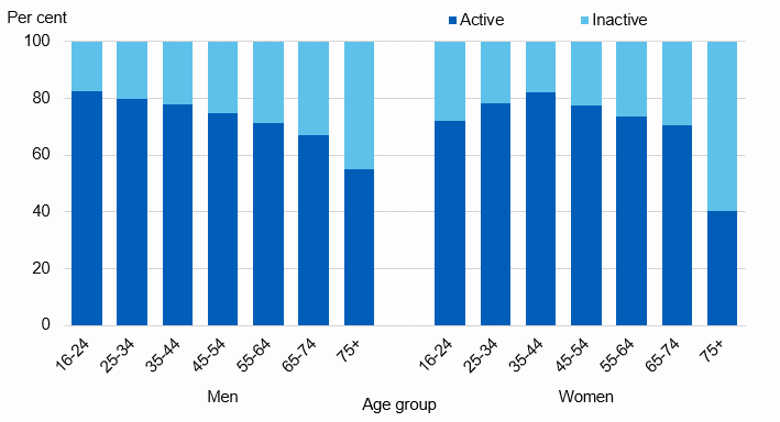 Chart showing adult physical activity levels by age and sex