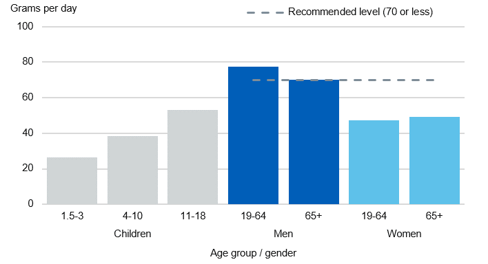 Chart showing red and processed meat intake by age group and gender