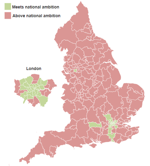 Map showing smoking prevalence, by Clinical Commissioning Group (CCG)