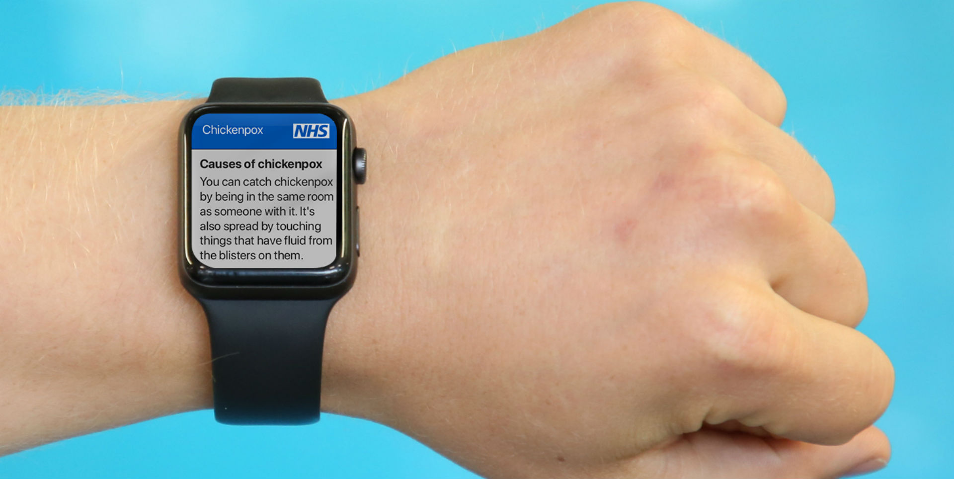 A wearable device with NHS website content