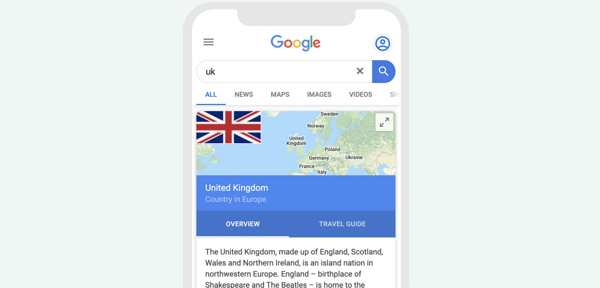 Google knowledge panel for the United Kingdom