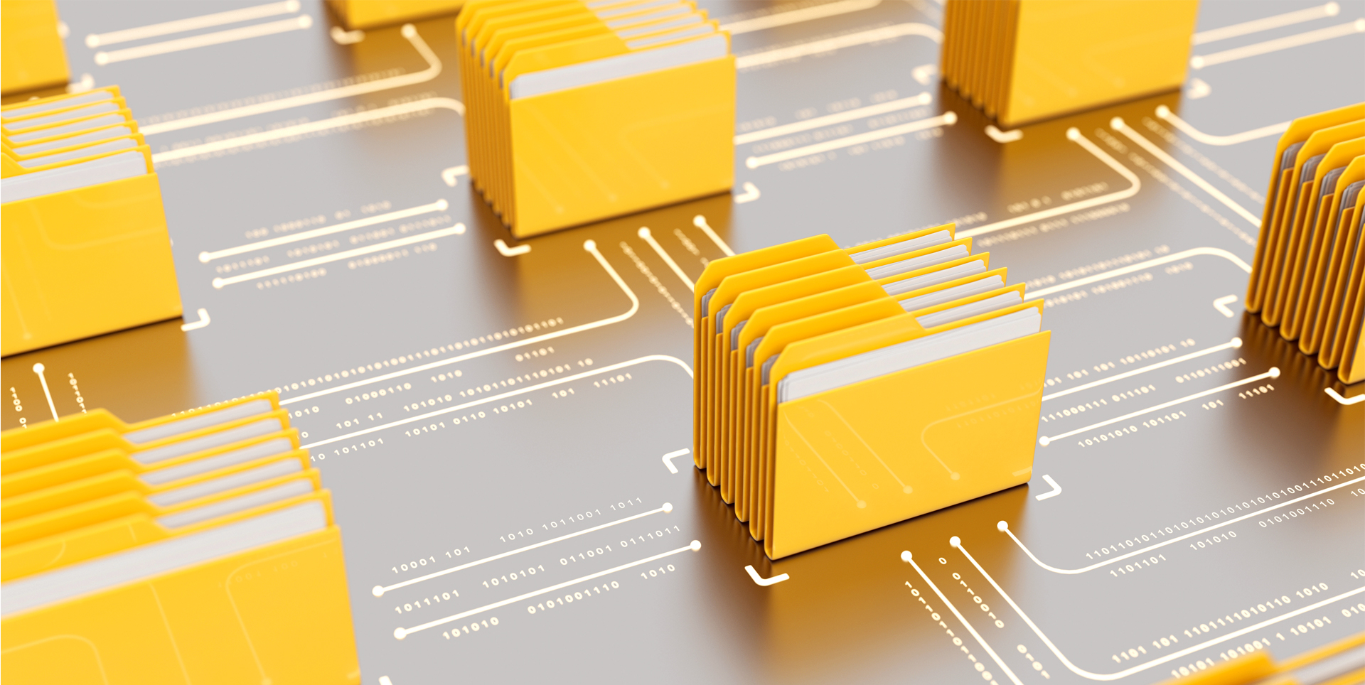 Drawing of yellow computer folders connected by lines of data.