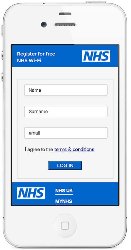 NHS WiFi registration and enrolment screen example