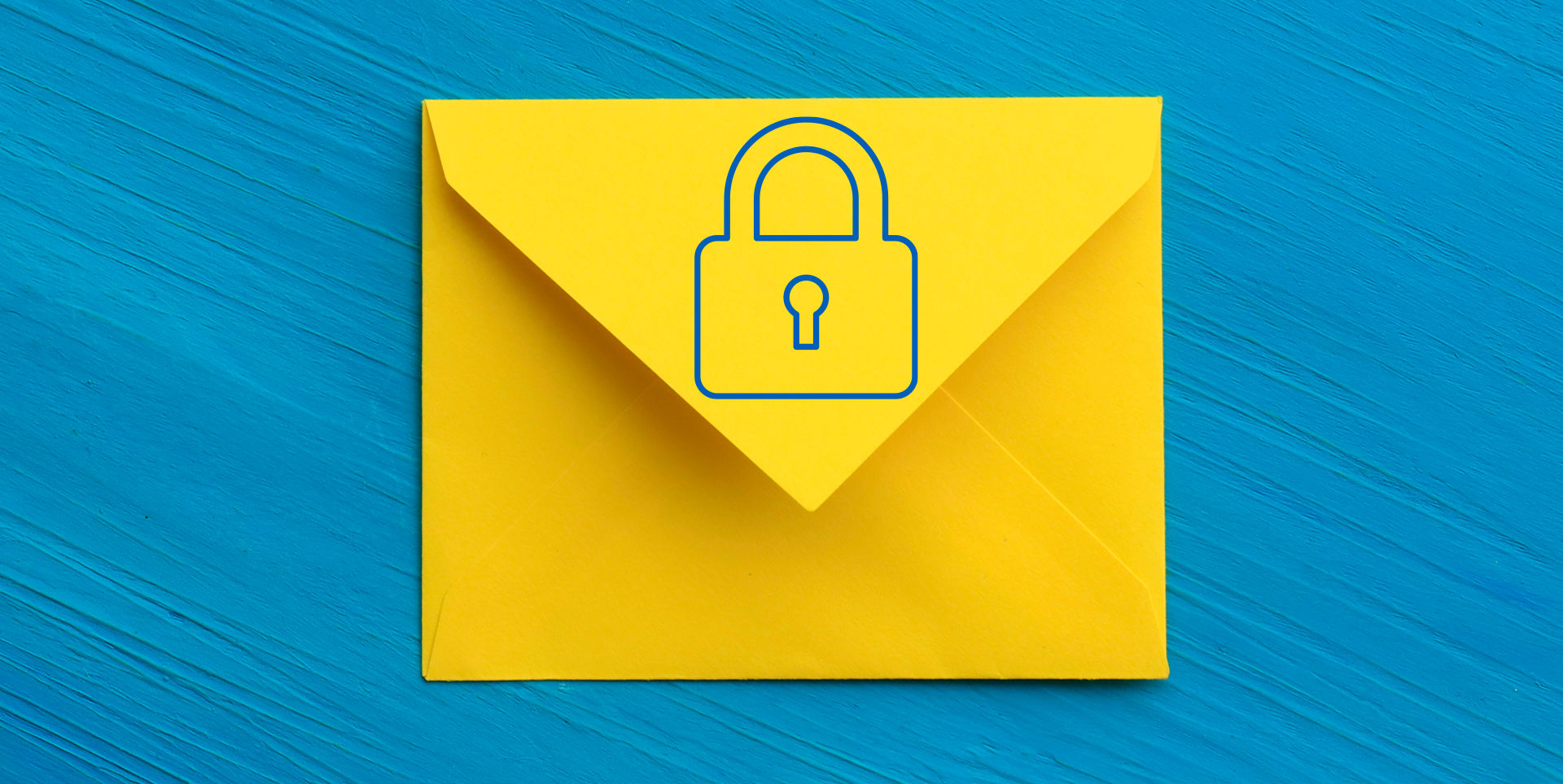 Yellow envelope covered by a blue security lock (line art) on a blue background