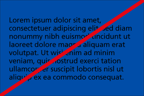 Incorrect use: Black text on NHS blue