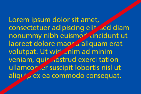 Incorrect use: Yellow text on NHS blue background for body copy