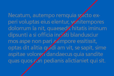 Incorrect use: Grey text on NHS blue background