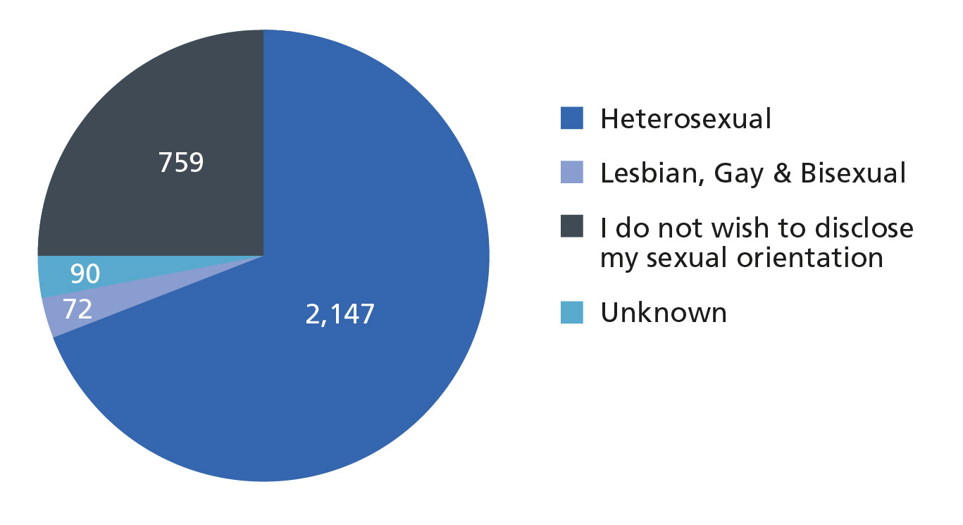 Chart to show breakdown of employee sexual orientation - 2,147 heterosexual, 759 prefer not to say, 90 unknown, 72 LGB
