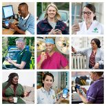 Image shows the nine new 'Faces of the NHS App' using the app on their phones.