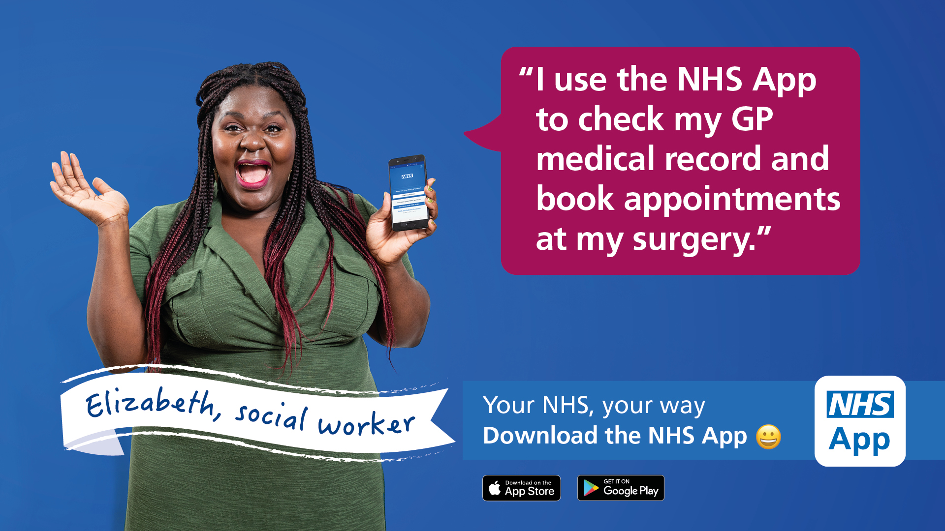 NHS app campaign image of social worker