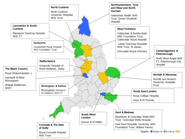 image of women's digital care record pilot sites map