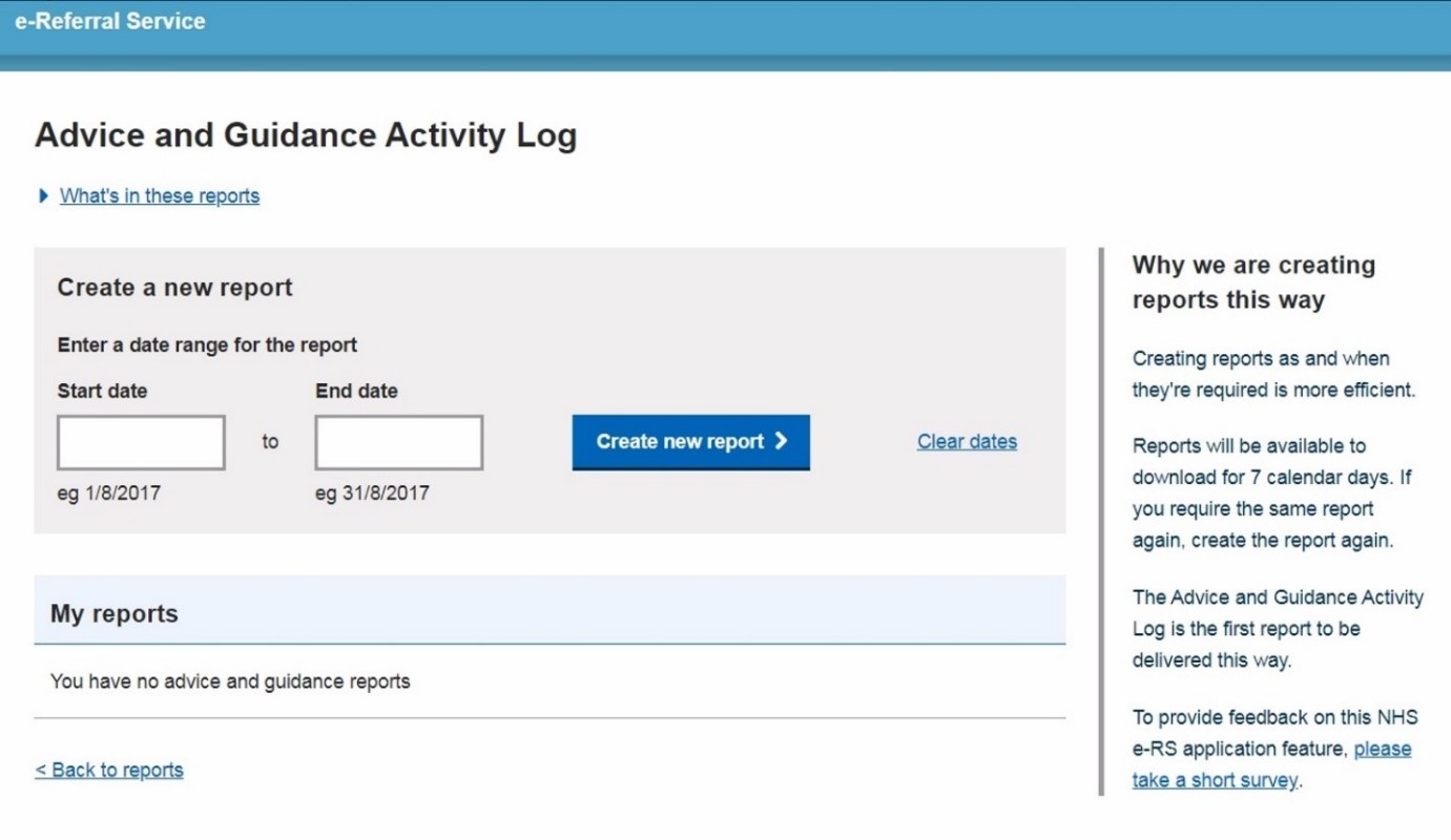 e-RS Advice and guidance activity log - adding date range criteria