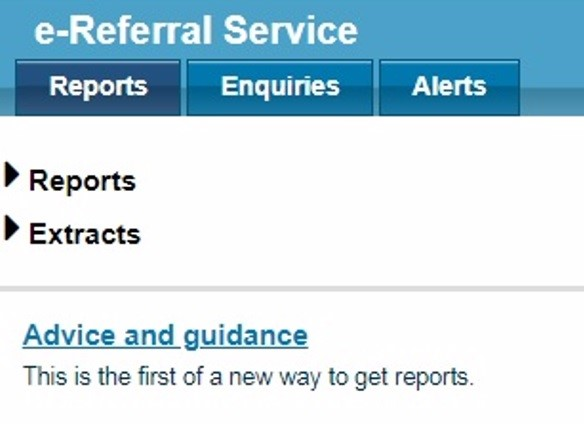 NHS e-Referral Service reports tab - new advice and guidance functionality