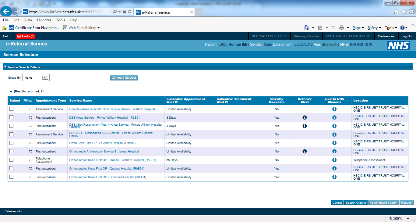 screen shot of eRS referrer view using the capacity alerts screen