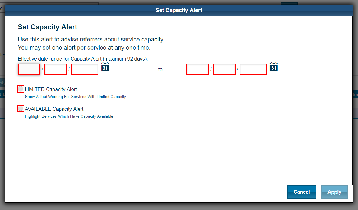 eRS screen shot showing how to set a limited capacity with effective date ranges