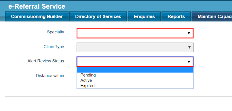 screen shot of EPS system displaying the maintain capacity alerts tab