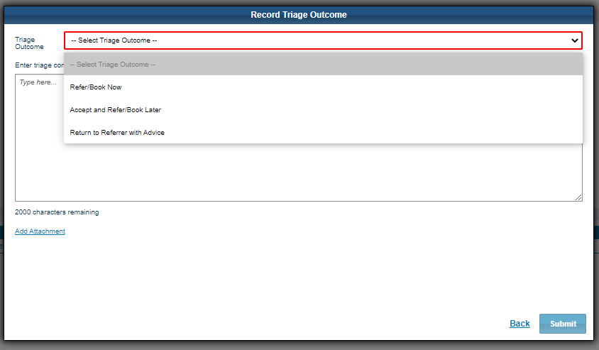 Image of referral outcome drop down