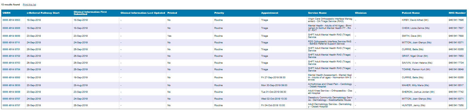 Screenshot of returned results on the referrals for review worklist