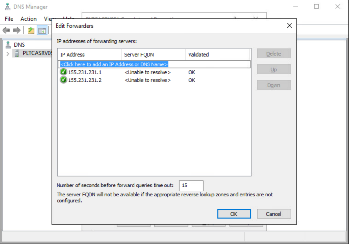 The Edit Forwarders menu of Windows Server Manager 2016 showing newly configured forwarding IP addresses