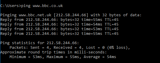 Command prompt - ping bbc URL example