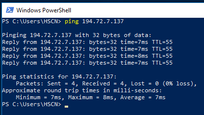 command prompt ping DNS IP example
