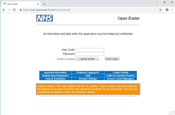 Open Exeter portal screenshot