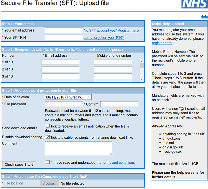 Secure File Transfer service SFT website screenshot