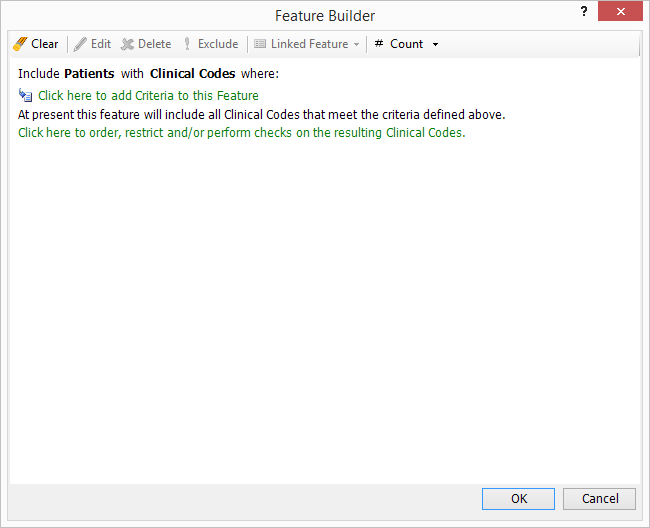 screenshot of using 'Rules' in the 'Feature Builder' to include criteria for Clinical Code, Order and Date Criteria.