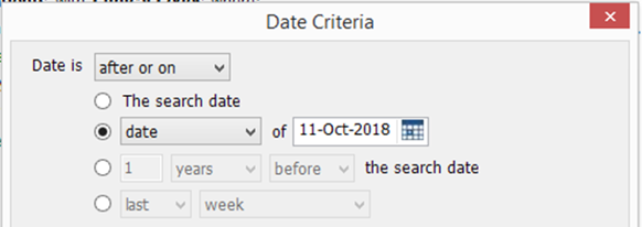 screenshot showing date options