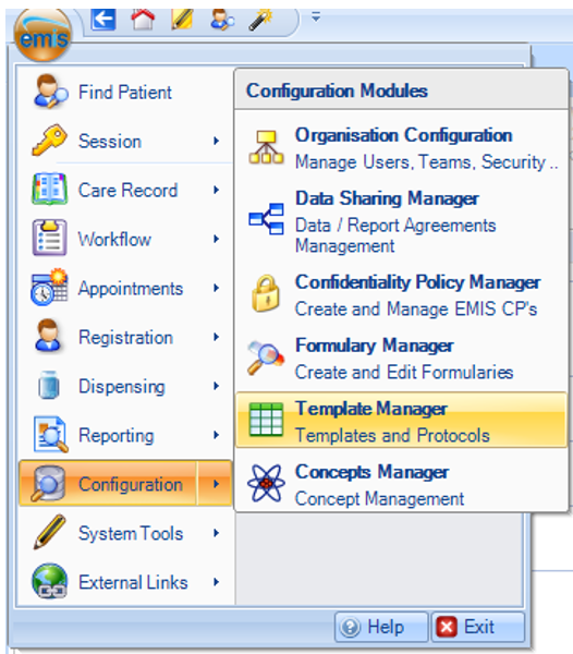 screenshot of EMIS with configuration and templates manager selected