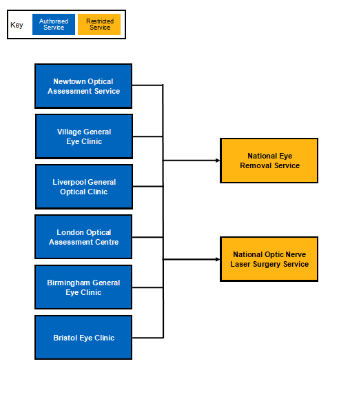 flow diagram showing an NHS eRs example of a tertiary service model through the eRS