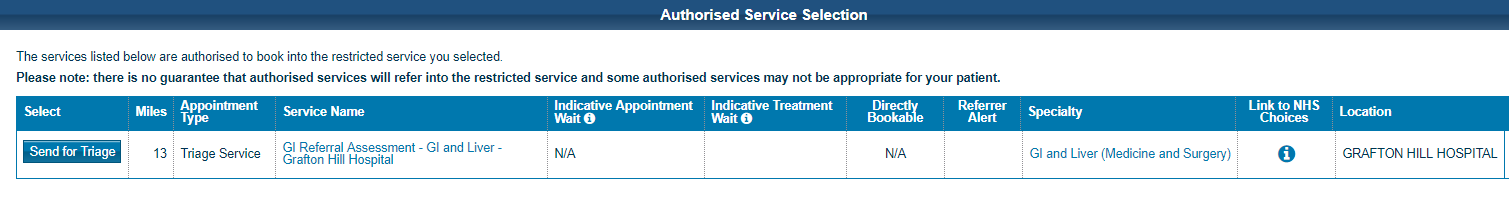 NHS eRS screen shot of how to chose an alternative service