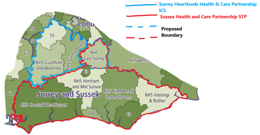 Image showing STP Boundary Changes – Surrey and Sussex