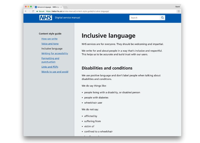 Screenshot of the inclusive language page on the NHS design guide