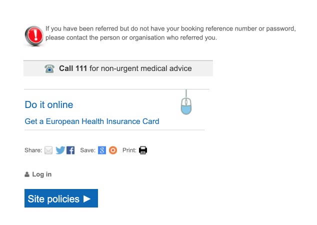 Examples of the various icons on the NHS Choices website