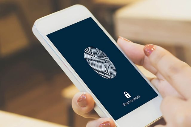 Image of a mobile phone using fingerprint identification