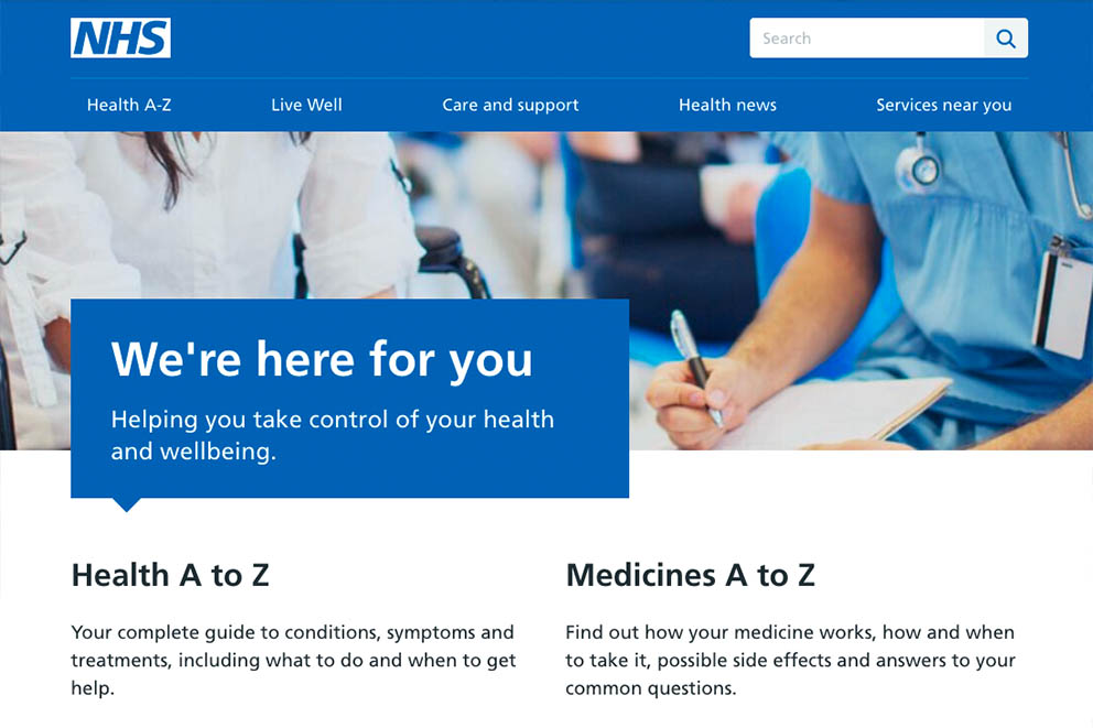 The front page of the NHS website