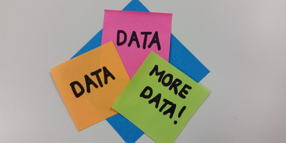 Post it Notes saying Data, Data, and More Data