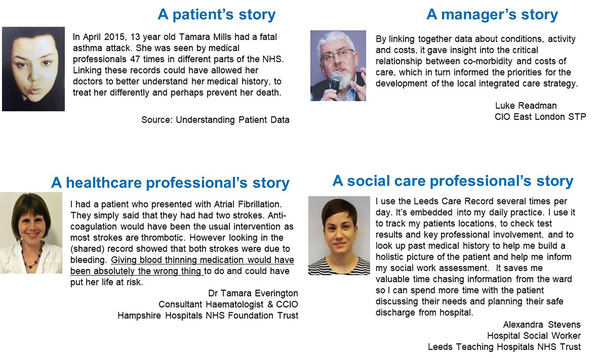 Four case studies describing a patient's story, a manager's story, a healthcare professional's story and a social care professional's story