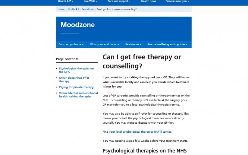 Screenshot of the 'moodzone' online tool