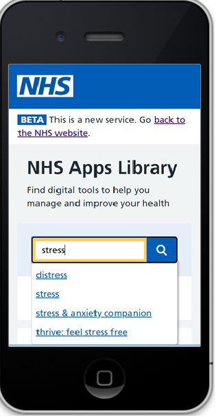 Mobile phone with the app library and stress in the search box.