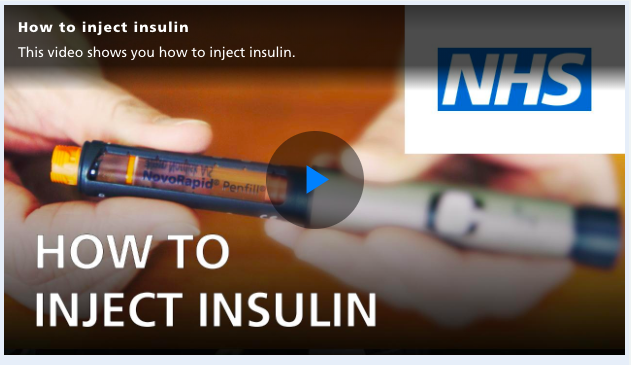 Screen shot of an insulin injection video