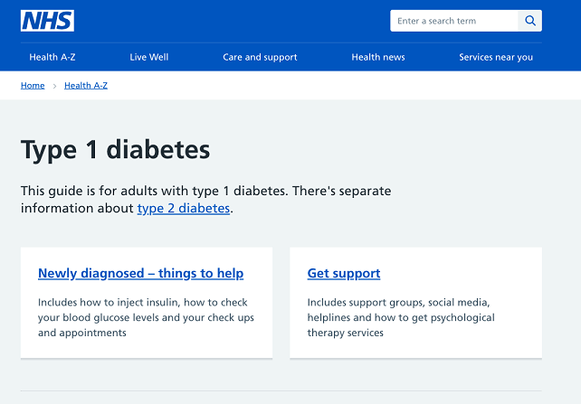Screenshot of diabetes landing page