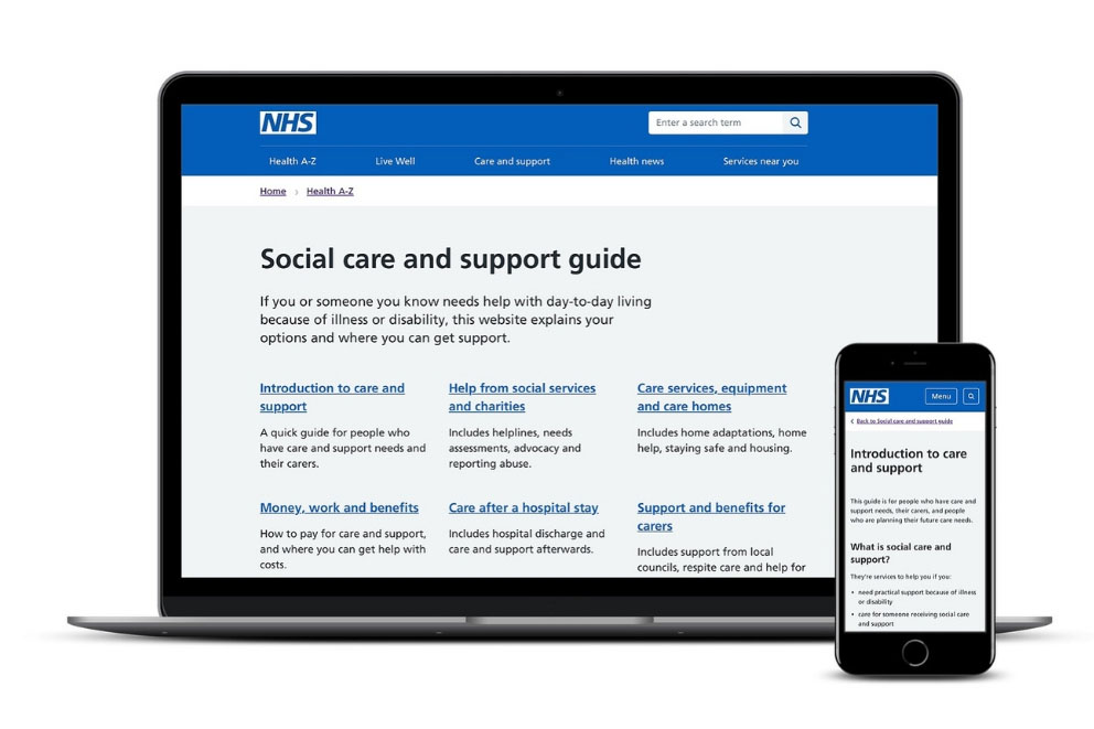 Social care support guide being used on computer and mobile phone